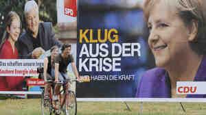 WIDE: Election posters of German Chancellor Angela Merkel (R) and challenger Frank-Walter Steinmeier