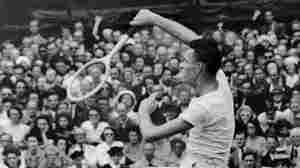 Jack Kramer smashes a return shot in 1947.