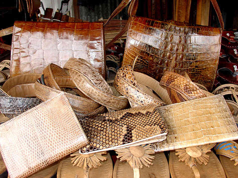Leather products made from crocodile and other illegal skins
