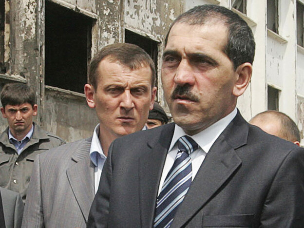Yunus-Bek Yevkurov, the president of Ingushetia, speaks Aug. 22 at the site of the police compound attack in Nazran. He vowed no mercy in fighting a bloody Islamist insurgency as he returned to Ingushetia two months after being badly wounded in an assassination attempt.