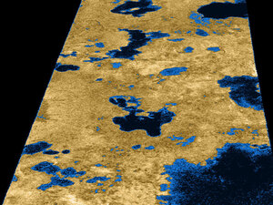 A radar image taken by Cassini in July 2006 of Saturn's moon, Titan,