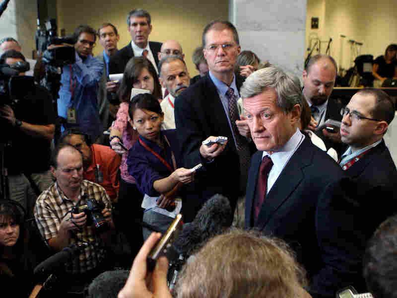 Sen. Max Baucus, D-Mont., speaks with the press