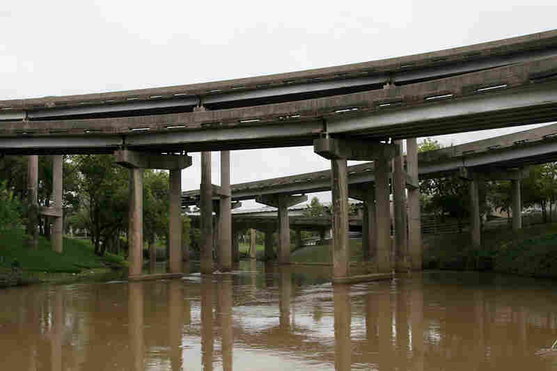 Downtown bridges span Houston's Buffalo Bayou.
