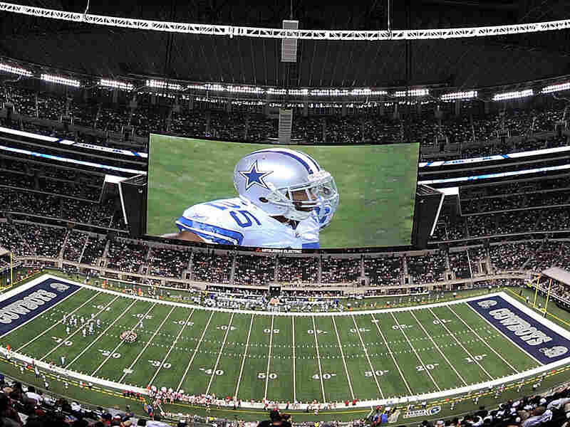 The new Cowboys Stadium includes a massive HD television display over the field.