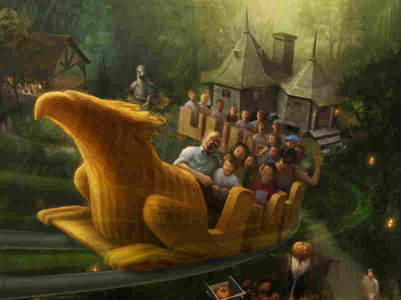 An early conceptual rendering of Flight of the Hippogriff ride.