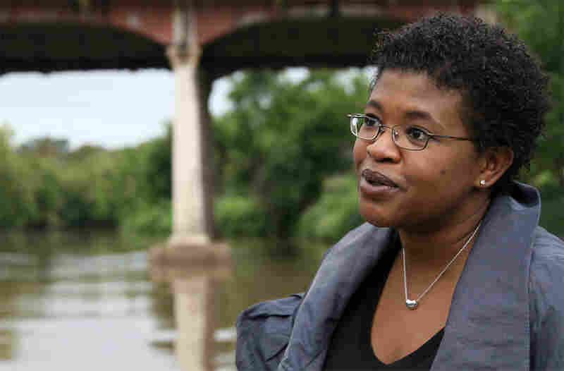 Author Attica Locke talks during a boat ride passing through downtown Houston on Buffalo Bayou
