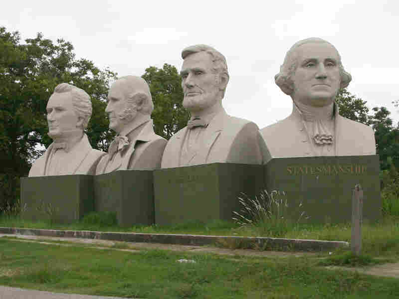Interstate 10 passes by Houston's version of Mount Rushmore.