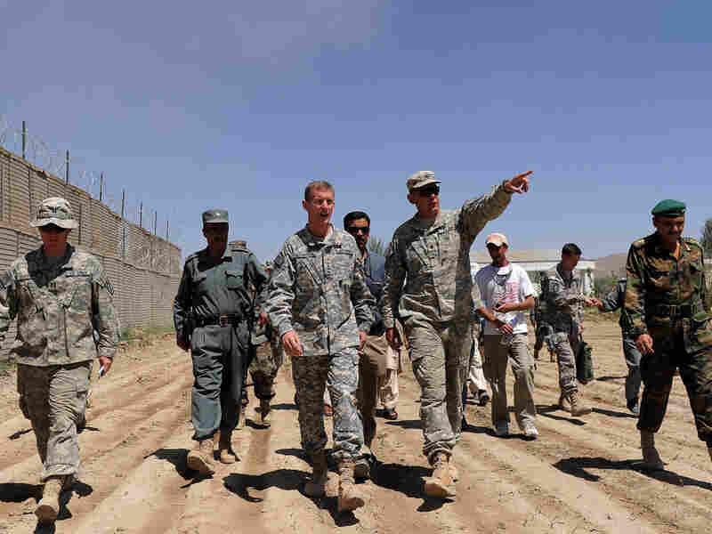 Gen. Stanley McChrystal, center, commander of U.S. and NATO forces in Afghanistan