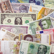A collection of world currencies