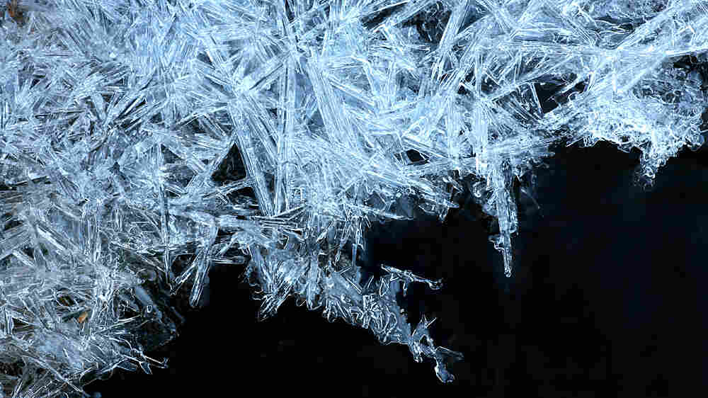 A close-up of ice crystals.