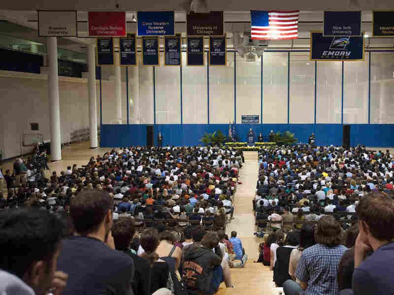 President Jimmy Carter speaks at Emory University in Atlanta,