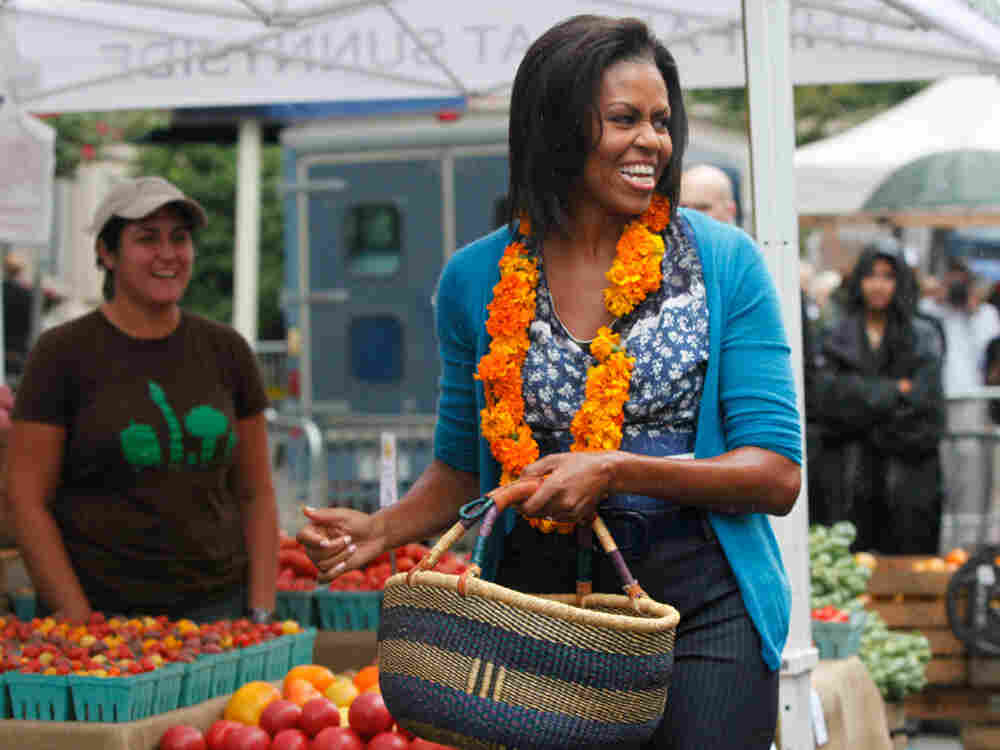 First lady Michelle Obama at Washington's new farmers market.