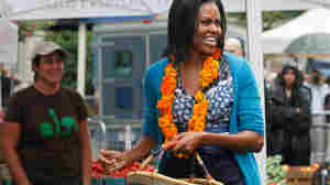 Wide: Michelle Obama at Washington's new farmers market.