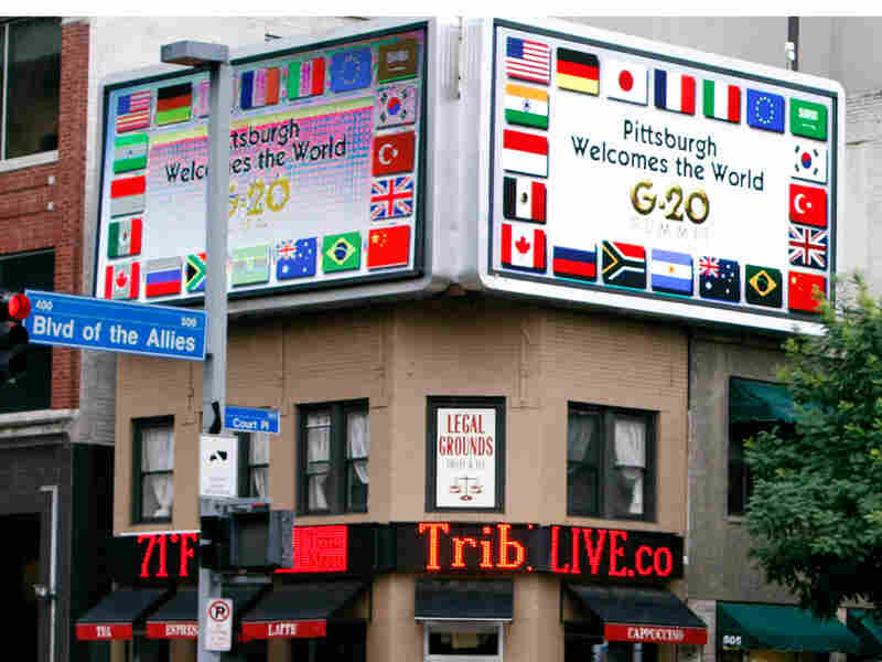 A sign in Pittsburgh welcomes the G-20. Keith Srakocic/AP