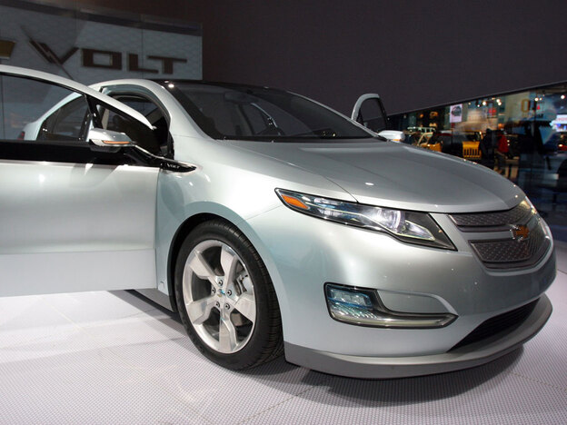 General Motors' Chevy Volt on display during opening day of the North American International Auto Show earlier this year in Detroit. The Volt uses a lithium ion battery with a gasoline-powered, range-extending engine.