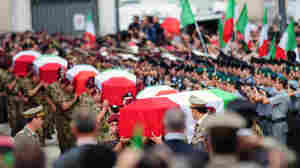 Coffins of six Italian soldiers killed Sept. 17 in Afghanistan at state funeral in Rome
