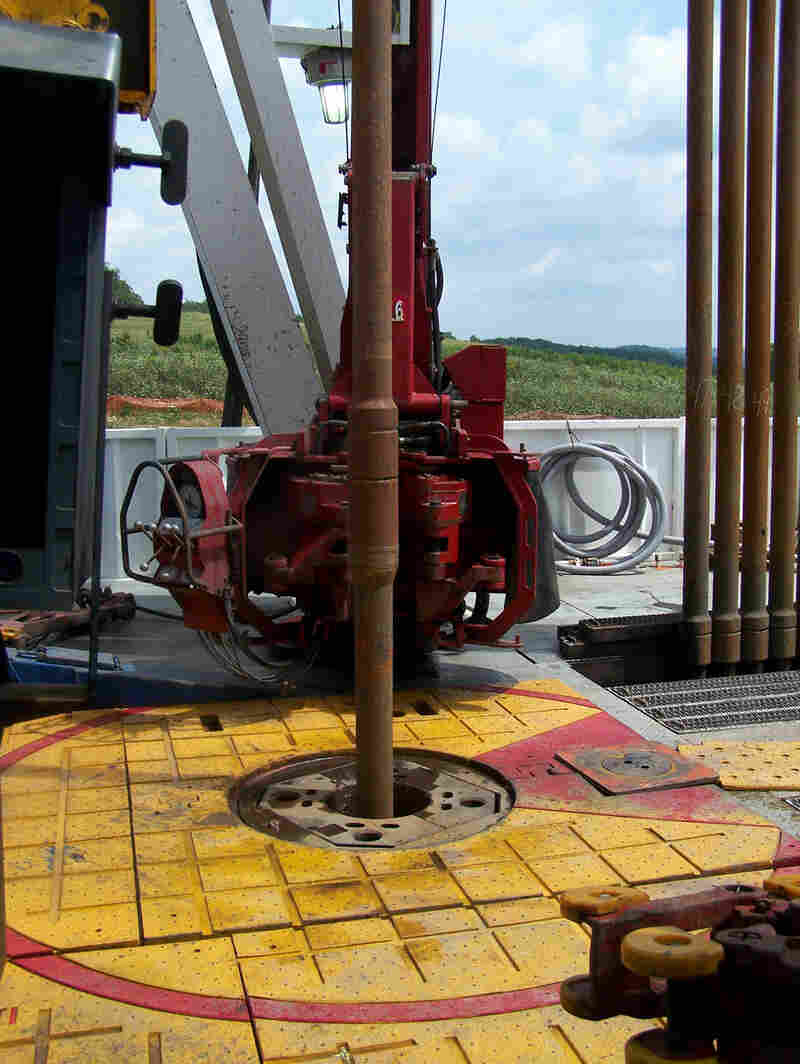 Vertical Image of a drilling platform on a shale gas rig.