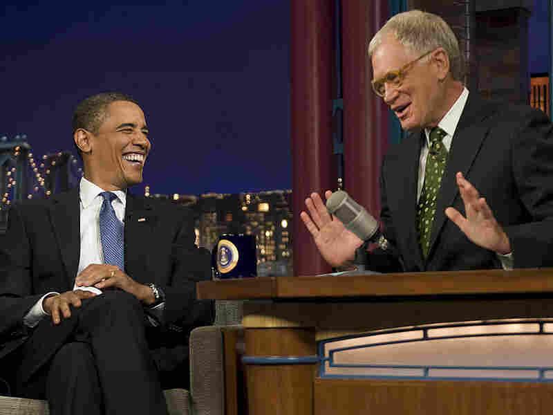 President Obama jokes with David Letterman
