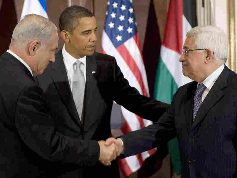 President Obama with Israeli and Palestinian leaders