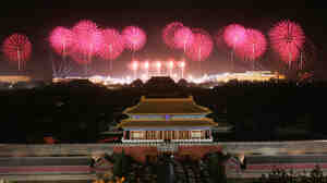 Fireworks over Tiananmen Square in Beijing