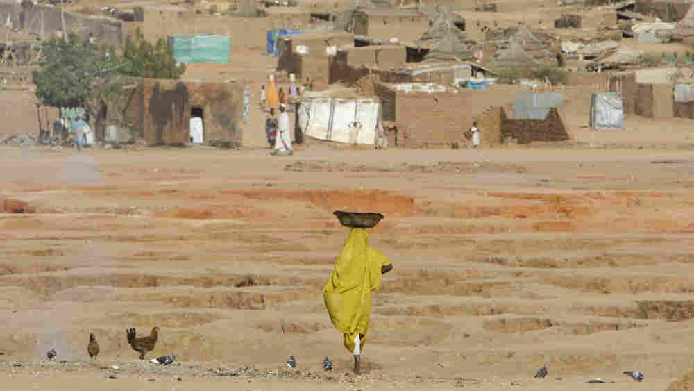 WIDE: A Sudanese refugee woman carries food supplies at the Abu Shouk refugee camp