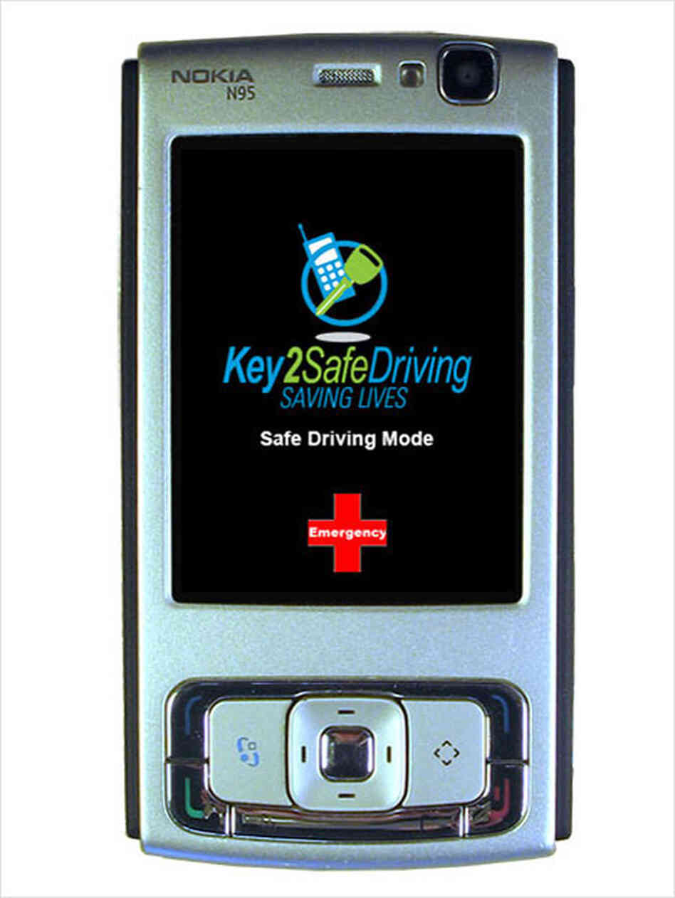 A cell phone displaying its safety mode to prevent texting.