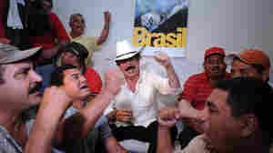 (Wide) Deposed Honduran President Manuel Zelaya in Embassy