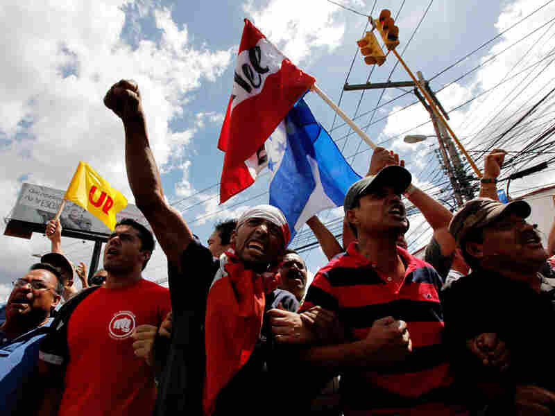 Supporters of deposed Honduran President Manuel Zelaya protest in the capital city of Tegucigalpa.