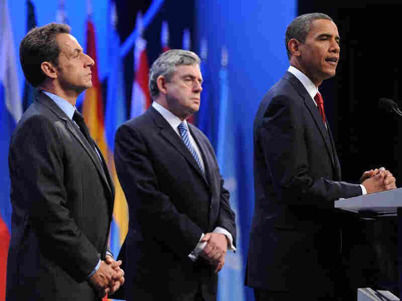French President Nicolas Sarkozy, British Prime Minister Gordon Brown, U.S. President Obama
