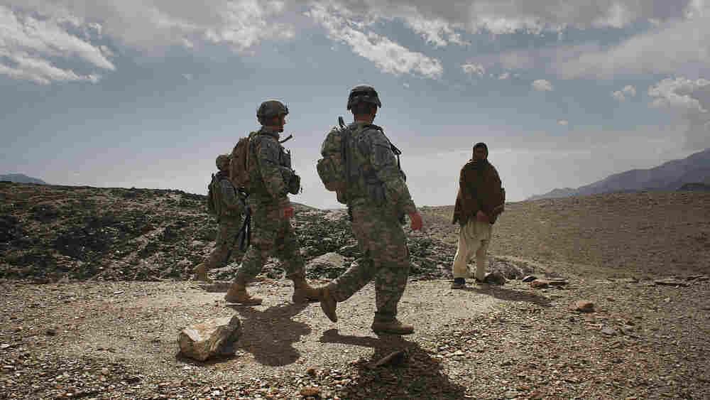 U.S. soldiers on patrol in Afghanistan's Nuristan province in February