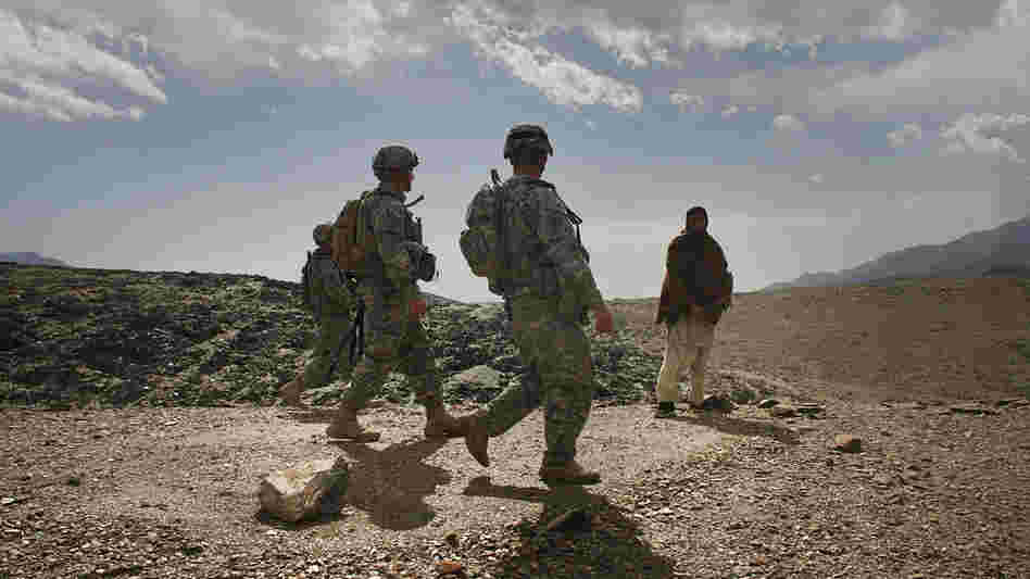 U.S. soldiers on patrol in Afghanistan's Nuristan province in February