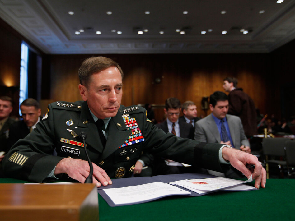 Gen. David Petraeus, commander of the U.S. Central Command, in Capitol Hill in Washington before the Senate Armed Services Committee hearing on U.S. policy for Pakistan and Afghanistan.