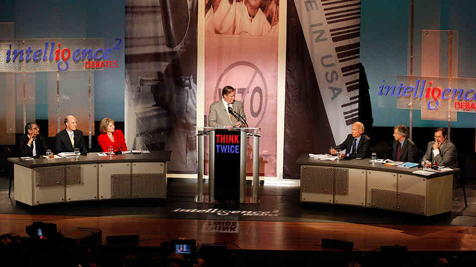 John Donvan moderates an Intelligence Squared U.S. debate.