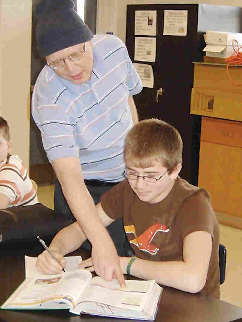 Bill Sparkman with a student