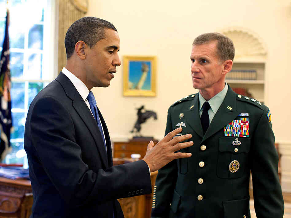 President Obama and Gen. McChrystal at an Oval Office meeting in May