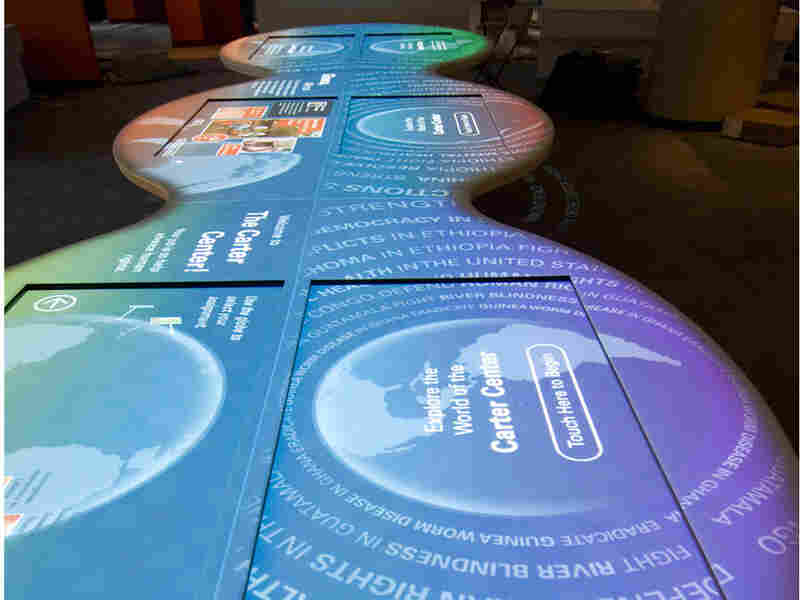 An interactive table in the newly renovated Carter Center.