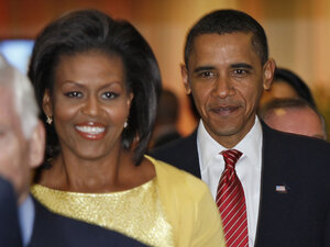 President Obama and his wife, Michelle, arrive for Chicago's presentation for its 2016 Olympic bid