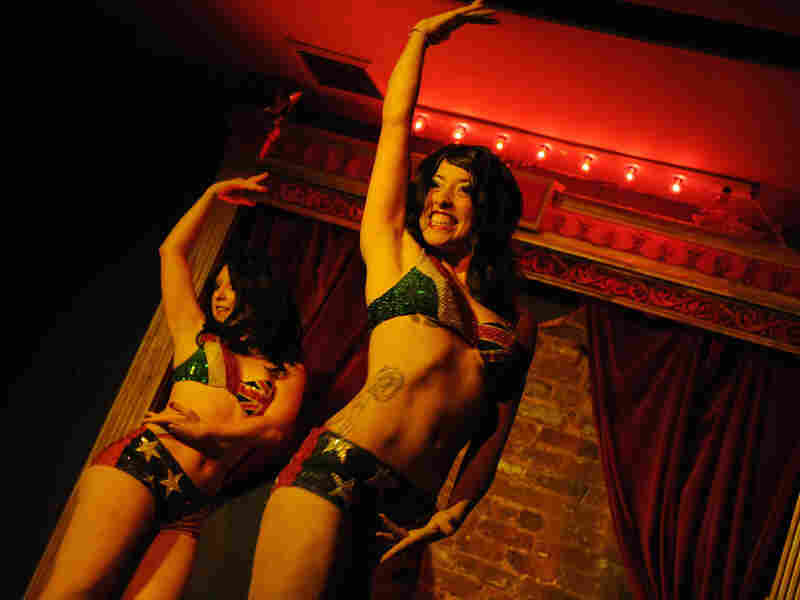 The Sisters Pontani perform their routine at the New York Burlesque Festival.