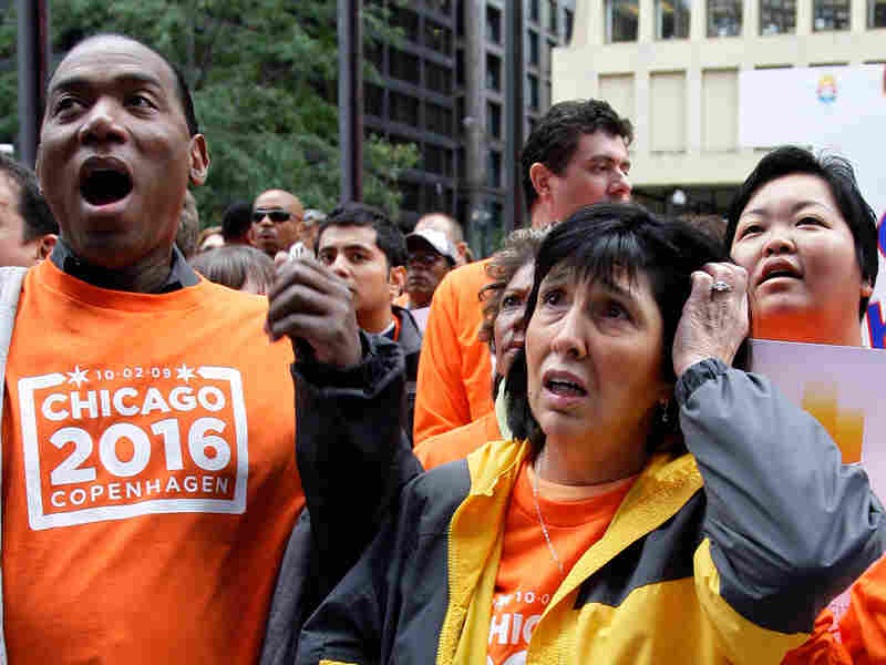 Chicago 2016 supporters react as they learn the city has lost its bid to host the Olympics.