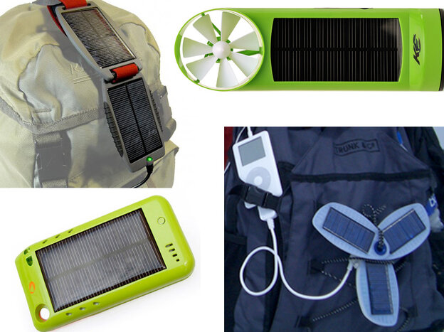 Solar chargers, from top left: Powertraveller Solar Monkey, K3 Wind and Solar Charger, Solio Classic