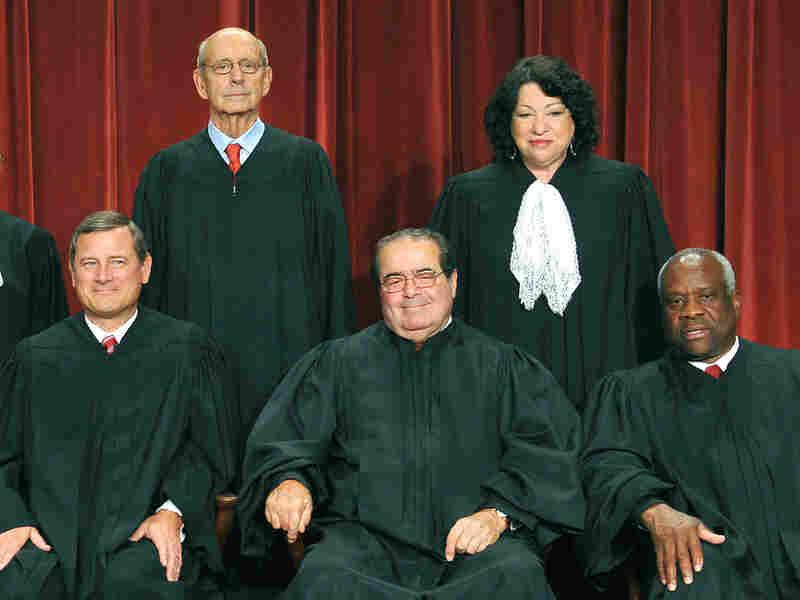 Stephen Breyer, Sonia Sotomayor, Clarence Thomas, Antonin Scalia and John Roberts.