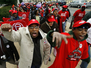 Hundreds of Hurricane Katrina survivors march on Capitol Hill in 2006, in a rally organized by ACORN