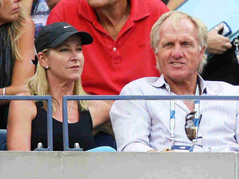Chris Evert and Greg Norman watch the 2009 U.S. Open