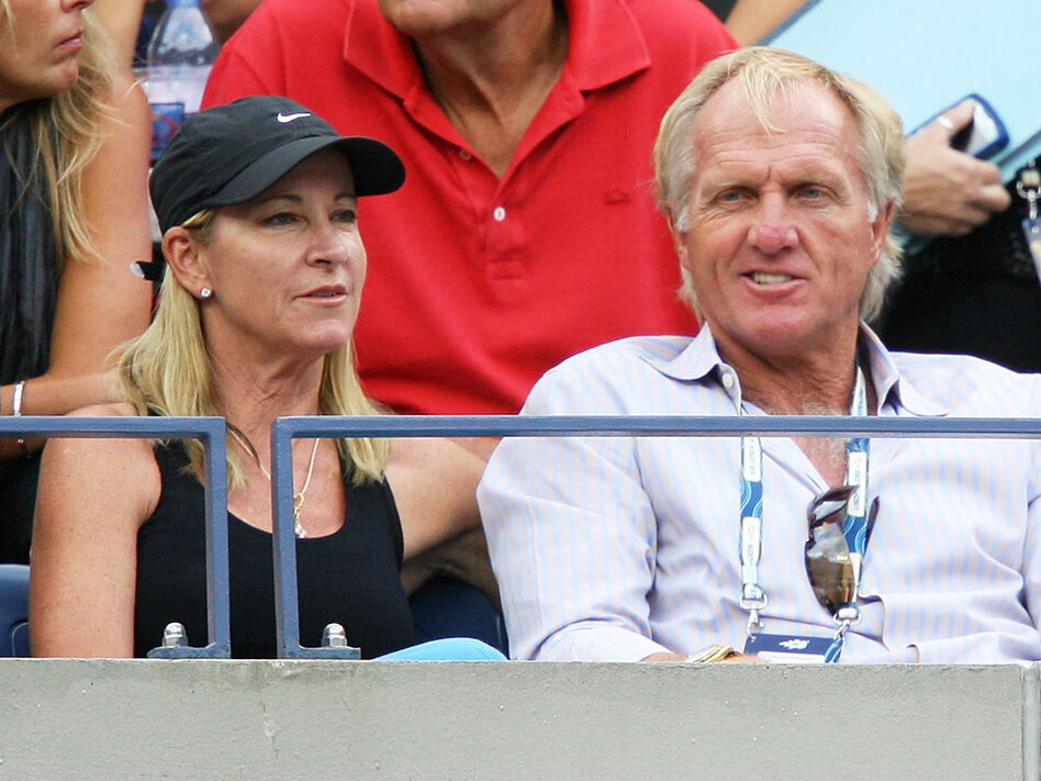 Former tennis champion Chris Evert and golfer Greg Norman watch the tennis match between Roger Federer and Novak Djokovic on Day 14 of the 2009 U.S. Open. Evert and Norman have since separated after 15 months of marriage.