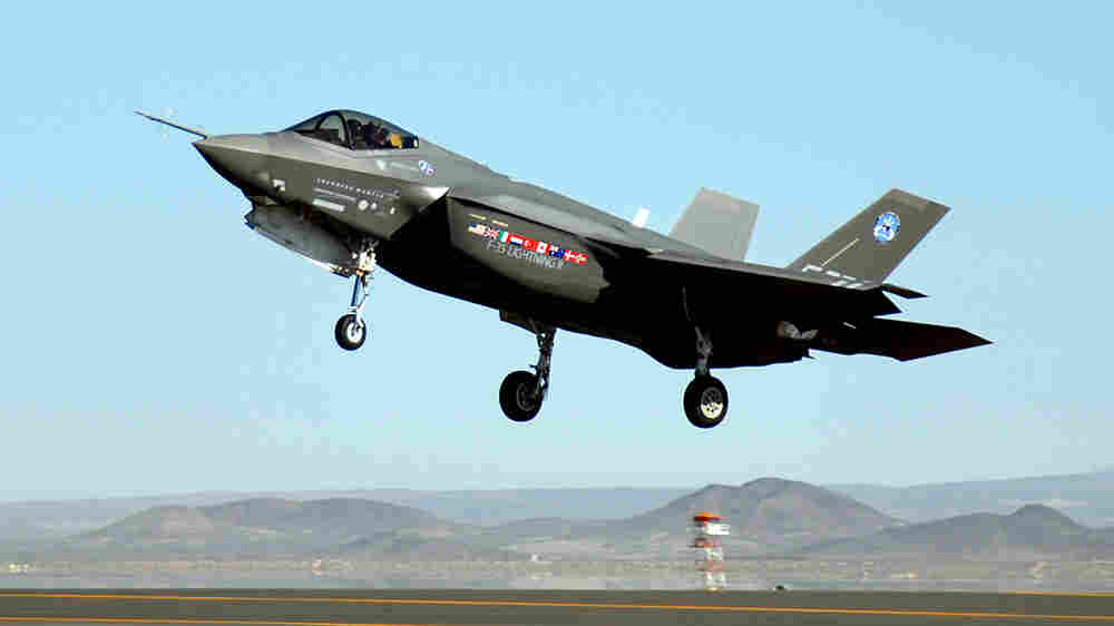 An F-35 Joint Strike Fighter lands at Edwards Air Force Base in California.