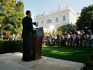 President Obama makes remarks Friday in the Rose Garden at the White House.