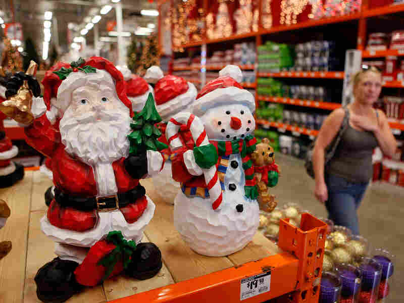 Christmas decorations for sale at Home Depot. Scott Olson Getty Images