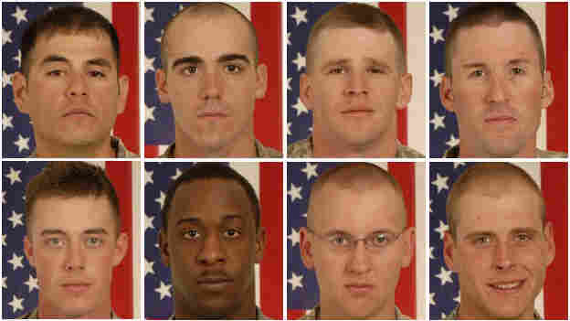 A composite of eight soldiers stationed at Fort Carson who died in a battle in Afghanistan.