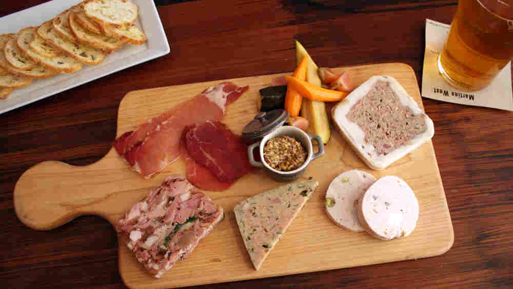 A tray of cured meats served at British gastro pub Martins West in Redwood City, Calif.