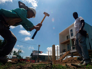Construction continues on a new home in New Orleans' Lower Ninth Ward, May 2009